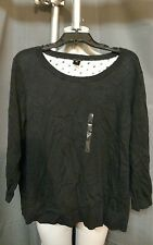 Ladies Ann Taylor black and white sweater with open pattern back, XL, NWT