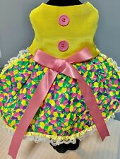 Easter Jelly Bean Yellow Dog Dress with Double Lace & Buttons-Fully Lined-SMALL