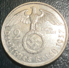 1937 Nazi Germany Silver Coin High Grade Third Reich 2 Reichsmark Swastika