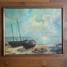 Peinture à l'huile - Bateaux sur la plage Signée Pio Fifa - Cadre doré