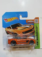 HOT WHEELS 2015 HW WORKSHOP CAMARO CONVERTIBLE CONCEPT ORANGE SHORT CARD