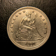 1860 Liberty Seated Quarter AU/UNC About Uncirculated Type Coin Silver 25c