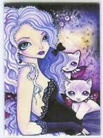 ACEO S/N L/E GOTHIC GORGEOUS GIRL PURPLE EYES KITTEN CAT FAIRY FARE ART PRINT