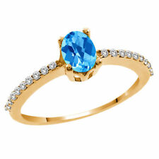 Topaz Solitaire Yellow Gold 1.25 - 1.49 Fine Gemstone Rings