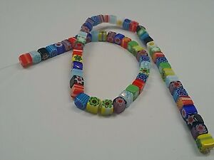 Handmade Millefiori Glass Beads, Cube, Mixed Color, 6x6x6mm, Hole: 1mm Qty 20