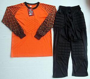 Soccer Goalie Goalkeeper Kit Kids Size Long Sleeve Jersey & Cropped Pants Orange