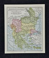 1917 McNally Map Turkey in Europe Greece Bulgaria Romania Constantinople Athens