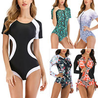 Womens Zip Front Bikini Monokini One-Piece Swimsuit Bathing Suit Swimwear Summer