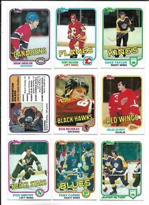 1981-82 Topps Hockey:Lot of 9 different including #52 Gretzky Leader