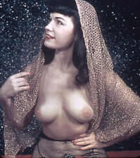 Vintage Stereo Realist Photo 3D Stereoscopic Slide NUDE Bettie Page in Veil