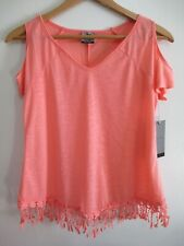 Womens Slit Sleeve Orange Tee Shirt Crochet Fringe Trim V-neck Stretch Knit Top