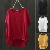 Women Plain Short Sleeve T Shirt Ladies Casual Loose Summer Blouse Jumper Tops