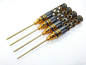 Metric Allen HEX Driver 4pcs Rc Tool Set Titanium Coated Tips - Hobby Honeycomb
