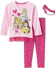 Disney Princess Girls 3 Pc Long Sleeve Tunic Leggings & Headband  NWT Size  5