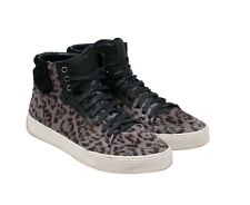 Yves Saint Laurent Leopard Print Pony Hair High Top Sneakers Size 43 US10