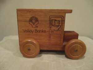 Vintage Collectible Logo Mobile Solid Wood Truck Bank, 1992 Valley Banks (1pc)