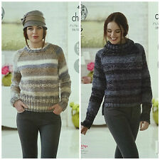 KNITTING PATTERN Ladies Easy Knit Round & Polo Neck Jumper Chunky King Cole 4638