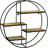 Contemporary Black Metal Wire Round Multi Shelf Wall Display Storage Unit