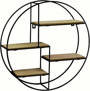Contemporary Black Metal Wire Round Multi Shelf Wall Display Storage Unit