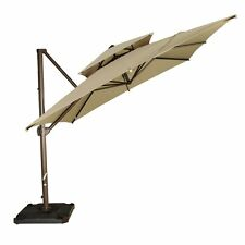9-Ft Square Offset Cantilever Patio Hanging Umbrella W/Cross Base and Cover