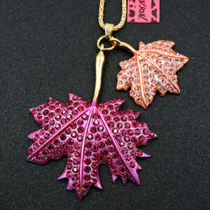 New Betsey Johnson Cute Pink Maple Leaf Crystal Pendant Chain Necklace