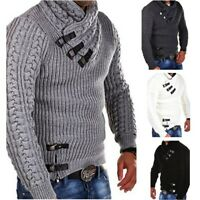 Mens Twist Flower Winter Sweater Knitted Sweater Pullover Jacket Coat Plus Size
