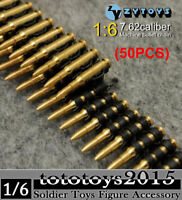 50pcs 1/6 scale 7.62 Caliber Machine Bullet Chain ZY TOYS Ammunition Belt