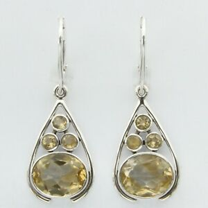 Genuine and Natural Yellow CITRINE Earrings 925 STERLING SILVER - Leverback #19e