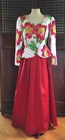 Vintage Evening Skirt Suit Bill Blass Oleg Cassini 1980s Red Pink Floral Formal
