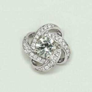 18K White Gold Natural 1.15 carat White Sapphire & 0.302 Carat Diamonds Pendant.