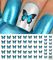 Blue Butterfly Nail Art Waterslide Decals - Salon Quality!