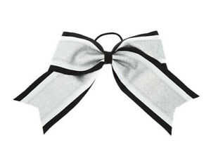 Claire's Silver & Black Glitter Cheer Bow Hair Tie New with Tags