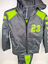 Boys Hooded 2 piece Sweatsuit Zippered Top Gray & Green Size 4 New