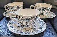 Vtg Lot of 3 Tea Coffee Cups W/ Saucers Ming Tree Double Phoenix Blue