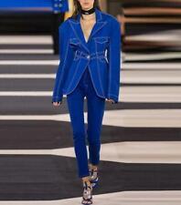 Women's Designer Inspired Royal Blue Broad Shoulder Denim Lion Buttons Blazer