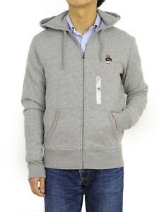 Polo Ralph Lauren Bear Full Zip Parka Hoodie Sweatshirt - Grey w/ Basketball