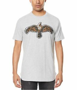 Sean John Mens Safety-Pinned Graphic T-Shirt, Grey, XXXX-Large