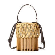 Summer Bamboo Beach Bag Handmade Tote Womens Women Basket Large Tote Beach