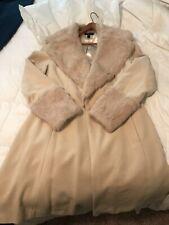 Genuine NATURAL Rabbit Fur & Wool Cream Women SOFT FLUFFY COLLAR Wrap Coat Large
