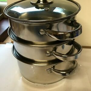 Set of 3 Stainless Steel Steamer / Saucepans with Glass Lid