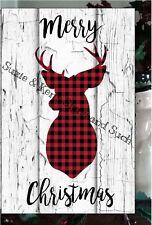 Primitive Merry Christmas Sign Plaid Deer Head Lumberjack Wooden Vintage Sign