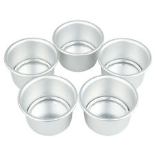 5x Sturdy Aluminum Cake Dessert Pans Cup Mold Removable Bottoms DIY Baking Tools