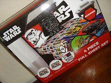 Disney Star Wars Children's Kids Boy's Girl's 4-Pc Full Sheet Set Microfiber New