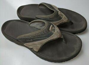 Teva Mens Brown / Gray Slip On Comfort Suede Flip Flop Sandals Size 44.5 US 10