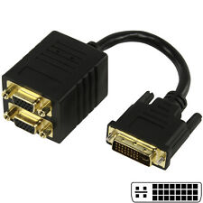 0.2m - DVI-I Male to 2x VGA Female Socket Splitter - Y Adapter Cable/lead 20cm