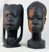 Beautiful Vintage Hand Carved Ebony West African Man-Woman Pair Busts