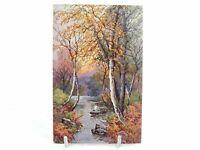 Antique colour printed postcard A Woodland Stream S Bowers Tucks