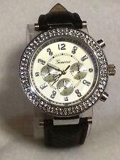 Geneva Rhinestone Silver Bezel MK Chrono Style Wrist Watch Faux Black Snake Band