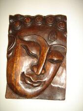 Buddha Holz Gesicht Kunst Deko  17 x 12 cm #813-9