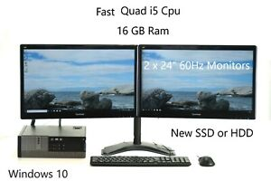 "Dell 9020 7020 Set 2x 24"" Quad i5 16 GB Ram SSD or HDD Windows 10 Home Pro WiFi"